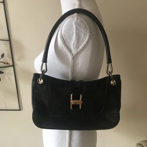 Vintage Classic Gucci Black Leather Shoulder Bag